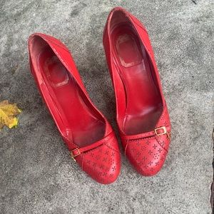 Dior red cut out heeled pumps
